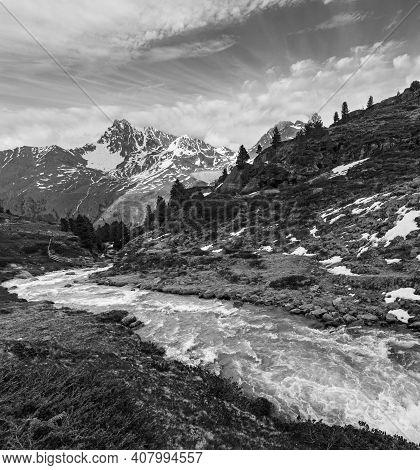 Grayscale. Summer Alps Mountain Stream On Way To Kaunertal Gletscher, Austria, Tirol.
