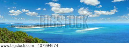 Summer Sea Coastal Landscape Of Nature Park Arrabida In Setubal, Portugal. Multi Shots Stitch High-r