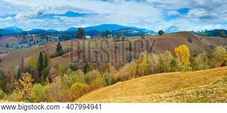 Beautiful Autumn Mountain Country Panorama (carpathian. Ukraine).