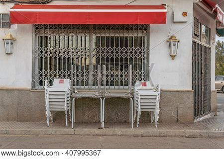 Campos, Spain; February 12 2021: Bar Closed Due To Spanish Governmental Measures To Control The Coro