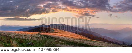 Autumn Misty Sunset Mountain Panorama (carpathian Mt's, Ukraine). Four Shots Stitch Image.