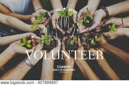 Helping Hands Volunteer Support Community Service Graphic