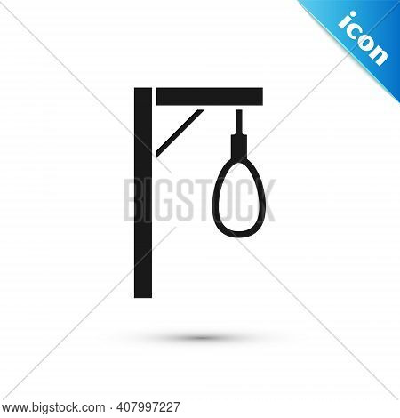 Grey Gallows Rope Loop Hanging Icon Isolated On White Background. Rope Tied Into Noose. Suicide, Han