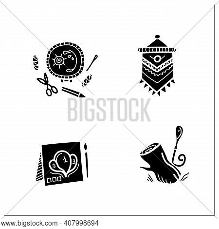 Craft Hobby Set Glyph Icons. Handmade And Homemade Concept. Consist Of Painting By Numbers, Macrame,