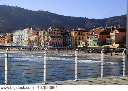 Alassio (sv), Italy - February 15, 2017: View Of Alassio Town From The Pier, Riviera Dei Fiori, Savo