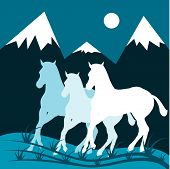 Night moon mountain scenery and three horses. poster