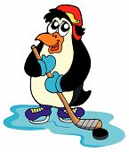 Penguin hockey player with hockey stick - vector illustration. poster