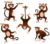 An Illustration of Monkeys with Clipping Path poster