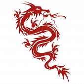 Dragon - a symbol of oriental culture isolated on white background. Dragon tattoo. Vector illustration poster