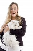 young model standing with white kitten with white background poster