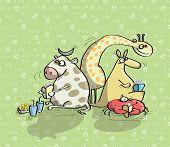 Animals Having Fun with cow, giraffe, kangaroo poster