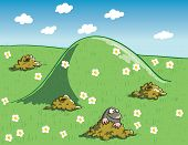 Mole and Molehills on Green Landscape with Flowers poster
