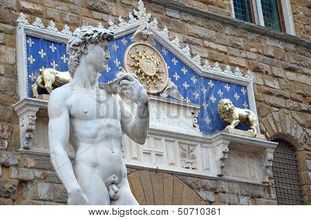 Brilliant sculpture of David by Michelangelo on the Piazza della Signoria in Florence, Italy
