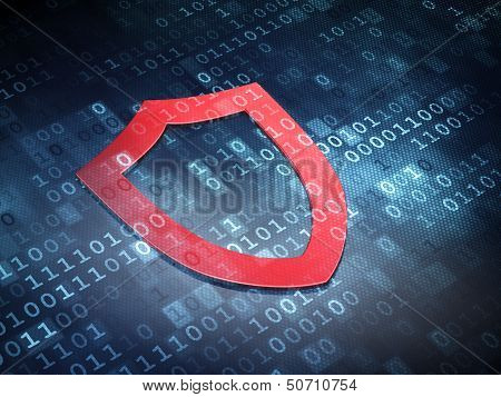 Security concept: Red Contoured Shield on digital background