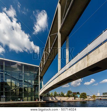 German Chancellery (bundeskanzleramt) And Bridge Over Spree River In Berlin, Germany