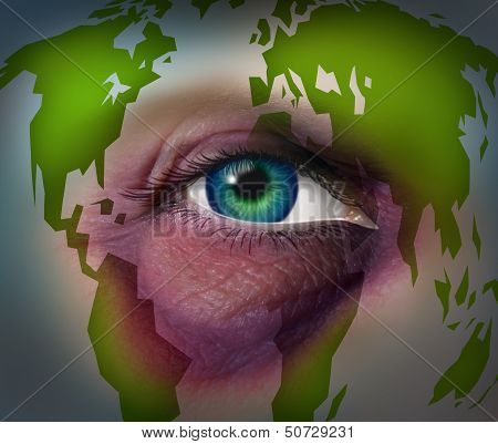 Global domestic violence and abusing mother earth concept with a violent bruised black eye on a human face with a world map as a symbol of injury to the environment and international law for the protection of women and human rights. poster