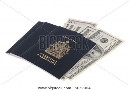 Us Banknotes And Three Canadian Passports