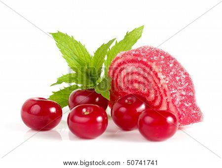 Tasty jelly candy with raspberry on the white