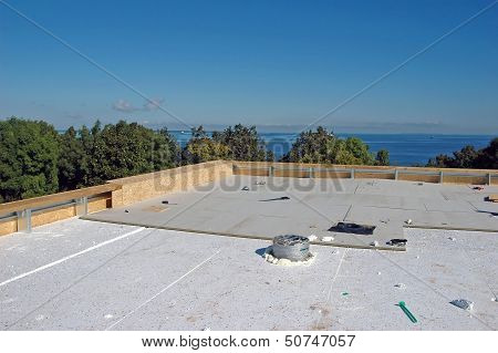 Isolation material at new roof construction at seaside poster