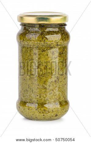 Glass Jar With Pesto Sauce