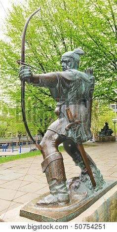 Detail of the Robin Hood statue in Nottingham, UK poster