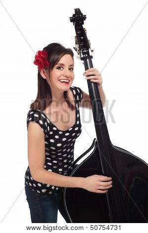 Rockabilly Girl Playing A Stand-up Bass