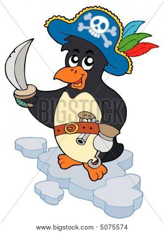 Pirate penguin on white background - vector illustration. poster