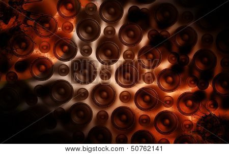 Speakers Wall - Cool Grunge Speakers-Music Theme. Perfect Background For Techno Party Rock Party etc. poster