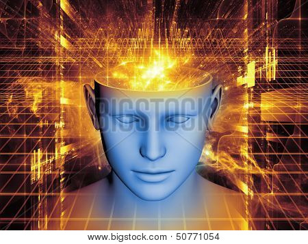 Design composed of human head and symbolic elements as a metaphor on the subject of human mind consciousness imagination science and creativity poster