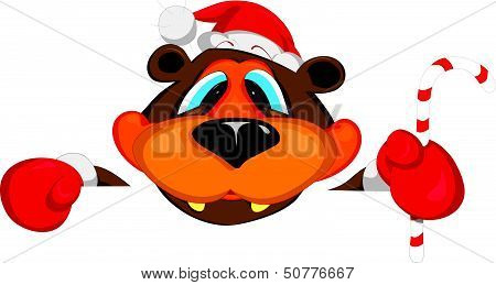 merry christmas bear holding a poster and candy poster