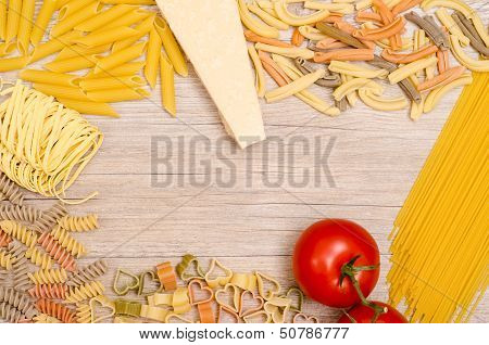 Italian Pasta With Tomato And Parmesan Cheese