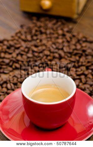 Espresso Coffe In A Red Mug