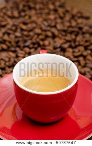 Close Up Mug With Espresso Coffee