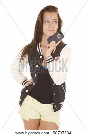Cell Phone Up By Teens Chin