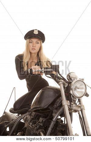 Woman Cop Motorcycle Kneel Seat Look