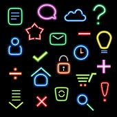 colorful neon icons set on dark background poster