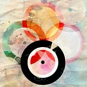 bright abstract background with music records on aged background poster