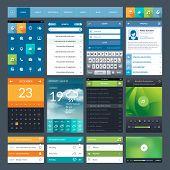 Set of flat design ui elements for mobile app and web design poster