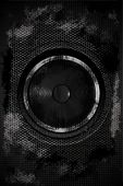 Grungy Dark Dirty Bass Speaker. Hard Music Theme. Black Grunge Damaged Metal Sheets with Bass Speaker in the Center of Composition. Meshy Steel Elements. Speaker-Music Vertical Theme. poster