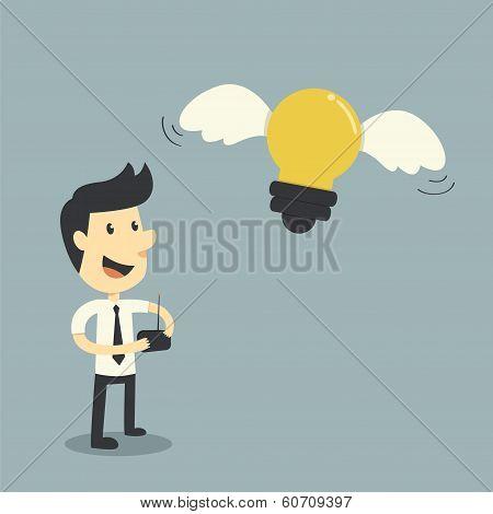 Businessman Control Lightbulb, Ideas Concept