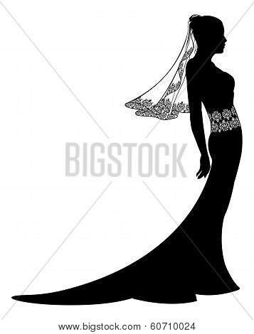 Bride In Wedding Dress Silhouette