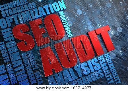 SEO Audit -  Wordcloud Concept.