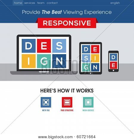 Responsive Design Website Template. Modern Flat Vector Design With Mobile Gadgets