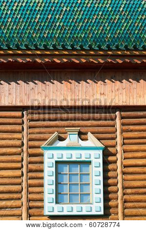 Decorated Window Of Old Russian Log House
