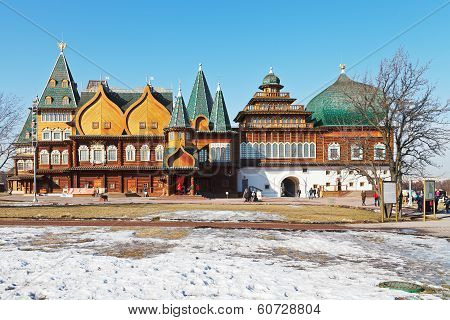 Facade Of Great Wooden Palace In Kolomenskoe
