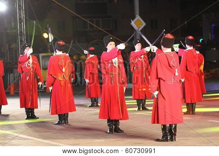 Russian Kuban Cossacks parade
