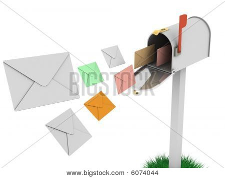 Mailbox With Flying Letters