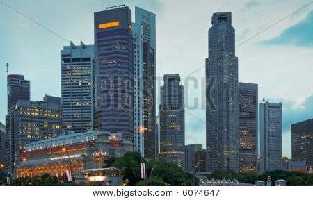 Singapore Skyscrapers In Evening