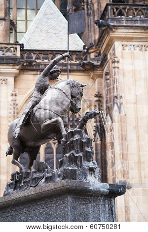 Statue Of Saint George In A Fountain