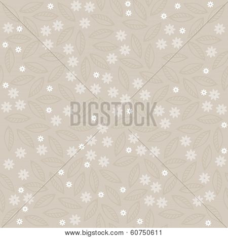 white and beige little flowers and leaves on light background romantic floral seamless pattern poster